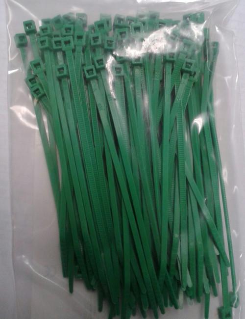 Self Locking Nylon Miniature Cable Ties. Green