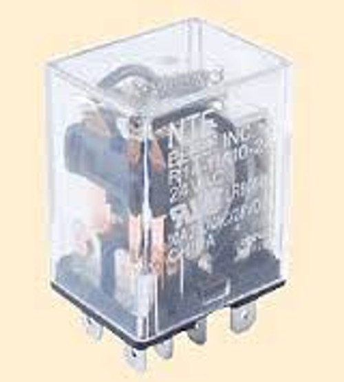 Relay, 10 amp, flange mount, double pole, normally open and normally closed, quick connects, R14-11A10-24F