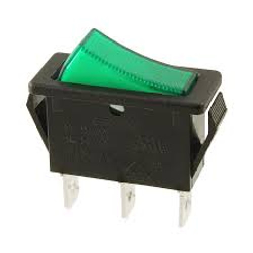Appliance Rocker switch, green illuminated, on off, single pole, R4JBLKGILEF1 E-Switch