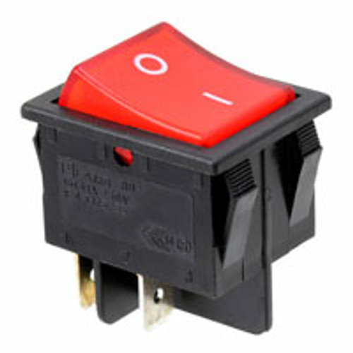 Square Rocker Switch, Red Illuminated, Off on, E- Switch, Lamb, RB242C1021-114