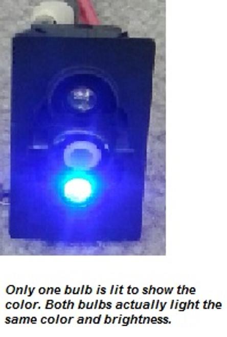V1D1GXXB-00000-000-XBLU1 Carling On-Off V Series Rocker Switch with 2 Blue LEDs , blue illuminated rocker switch, blue lit rocker, dual blue leds, on off, spst, maintained, carling, V Series