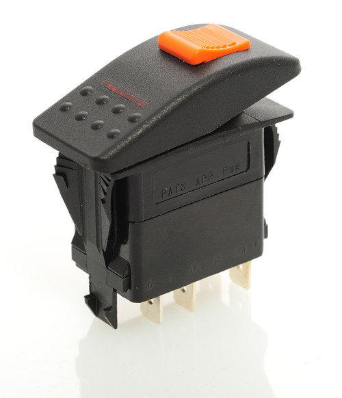 Locking Rocker switch, Carling, V Series, single pole, on off, independent lamp, amber lens, lock on actuator, full switch and cap, protects from accidentally turning it on, V1D2HW6B-ADE,00001791,0322-GG3-056,0392-GG3-056,2-44400-047