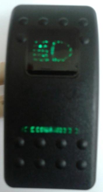 Carling, V series, actuator, rocker switch, high beam legend, 2 green lens