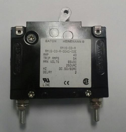 Eaton Heinemann circuit breaker, AM1S series, single pole, 40 amps, stud mount, AM1S-D3-A-0040-02E