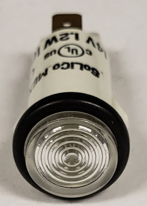 indicator light, 14 volt, clear, incandescent, cylinder rings lens, quick connects, Solico, 3035-3-11-37660