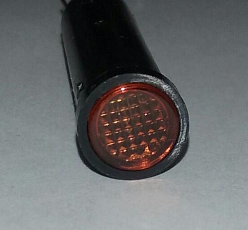 indicator light, 14 volt, amber, incandescent, quick connects, flush diamond lens, Solico, 2435-3-20-20320, 093-0009