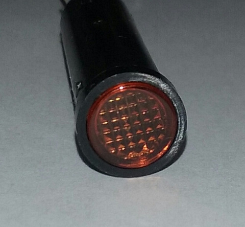 indicator light, 14 volt, amber, incandescent, quick connects, flush diamond lens, Solico, 2435-3-20-20320, 093-0009