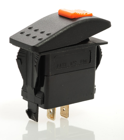 Locking Rocker switch, Carling, V Series, single pole, on off, lock on actuator, full switch and cap, protects from accidentally turning it on, V1D2SW0B-AZE