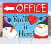 Happy Snowman Bandit Lawn Signs