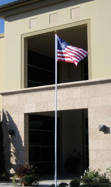 16' Flag Pole -Silver Aluminum-Free Flag