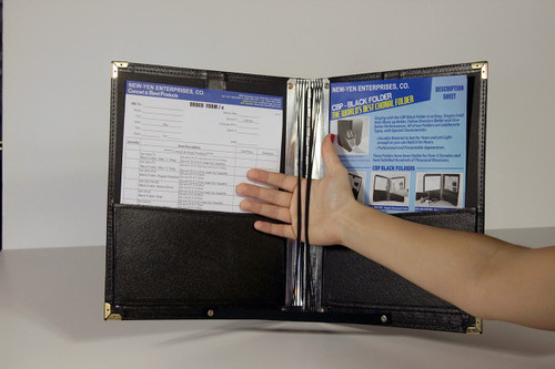 """Order your Size 12-1/2"""" x 11""""  standard folder with Elastic Cord installed in Aluminum Hinge holds Music in place for complete security. Durable material to last for years."""