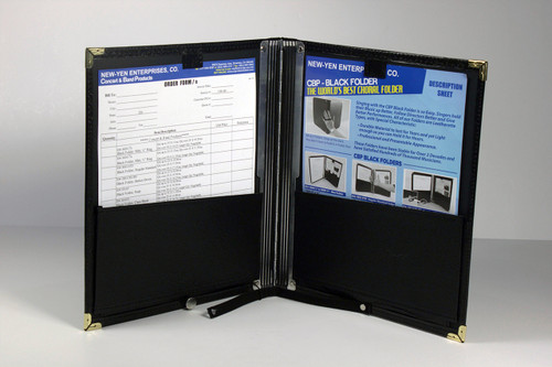 """Deluxe Black Folder (Button Down): Size : 12-1/2"""" x 11"""" 2-Slots for Pen and Pencil. You can unbutton so the folder can lay flat on the music stand or piano."""