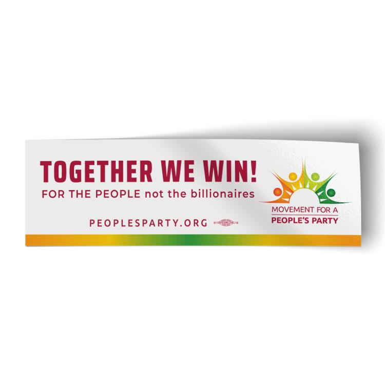 """Together We Win - White (10.25"""" x 3.25"""" Vinyl Sticker)"""