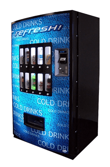 New Vendo 721 Blue Refresh Soda Machine