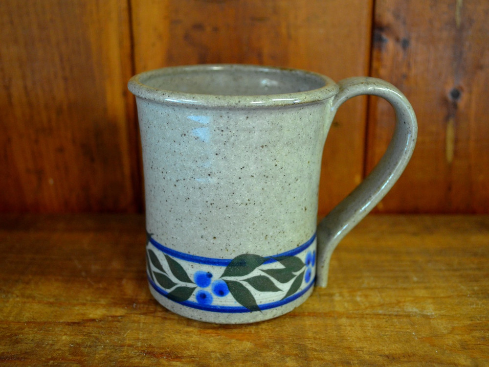 Standard Mug in Speckled Grey with Blueberry Trim