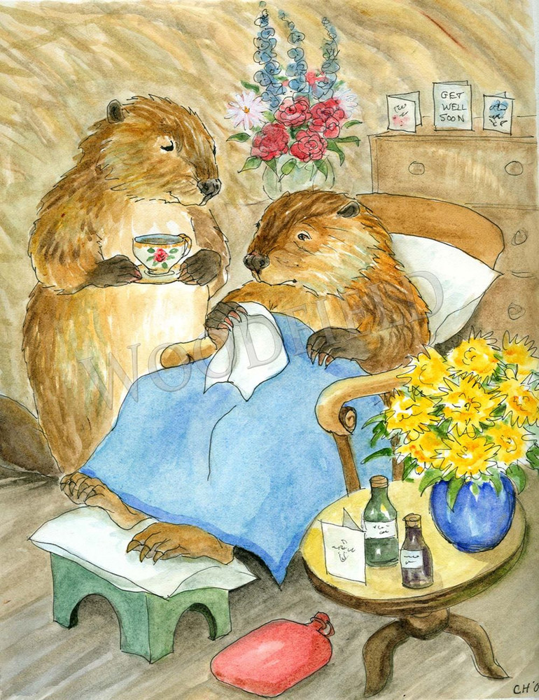 When Father Beaver is under the weather, nothing cheers him up more than a hot cup of something served by sympathetic and loving paws.