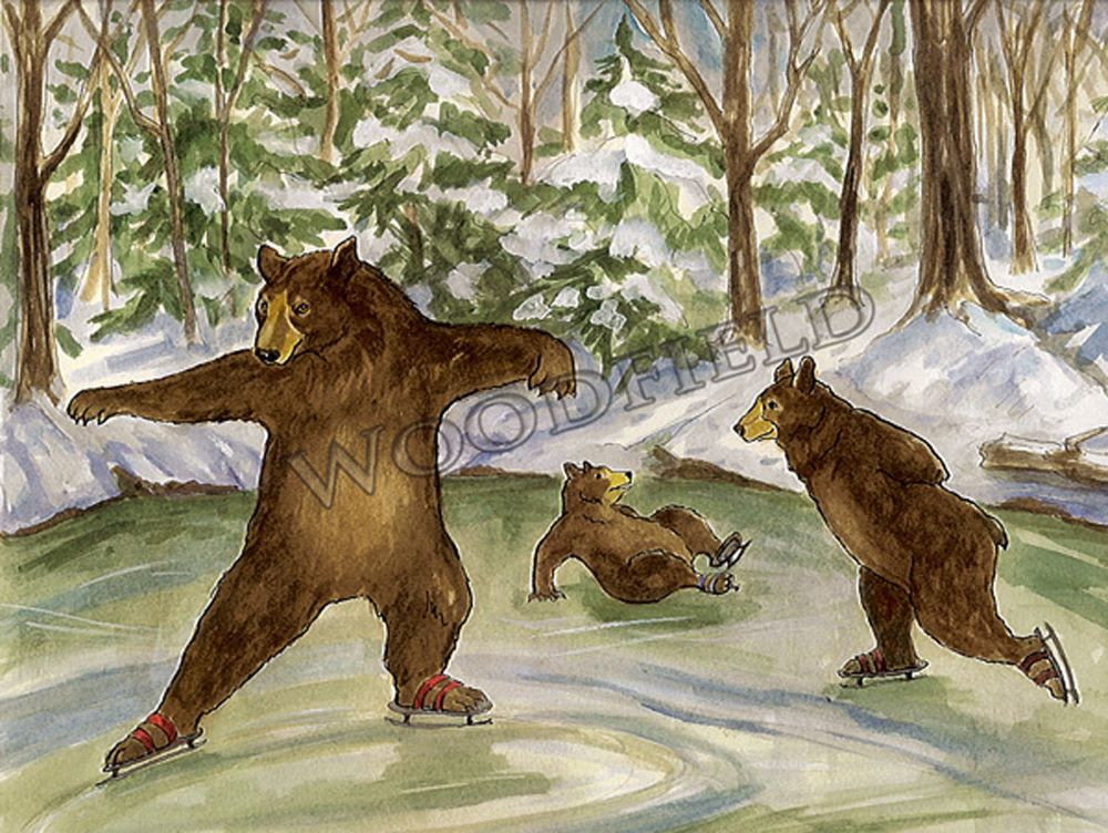 The ice was just perfect. The bears practiced twirling and gliding until the sun sank behind the trees and they had to take off their skates in the dark.