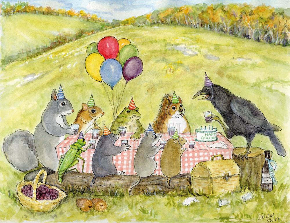 Crow raised his glass and toasted his good friends who had joined him for a birthday celebration.