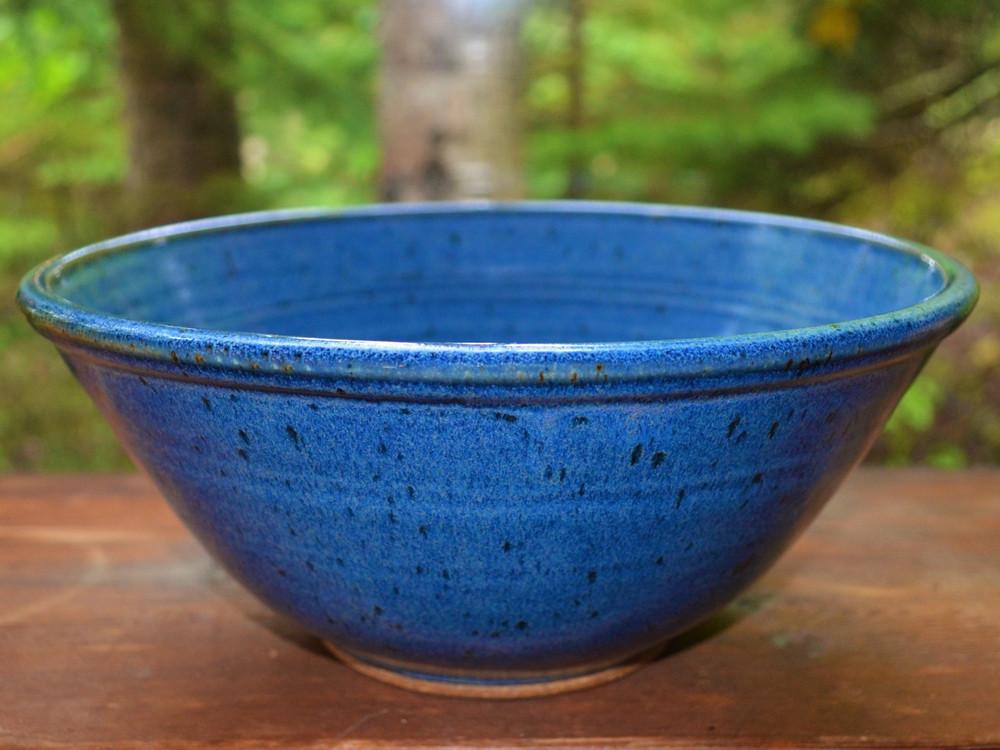 High Serving Bowl in Bird's Beak Blue