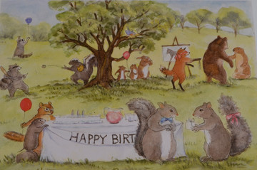 It was Chester's birthday and he had invited all his friends to the meadow to celebrate the wonderful day.