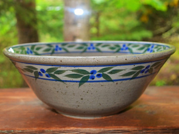 High Serving Bowl in Speckled Grey with Blueberry Trim
