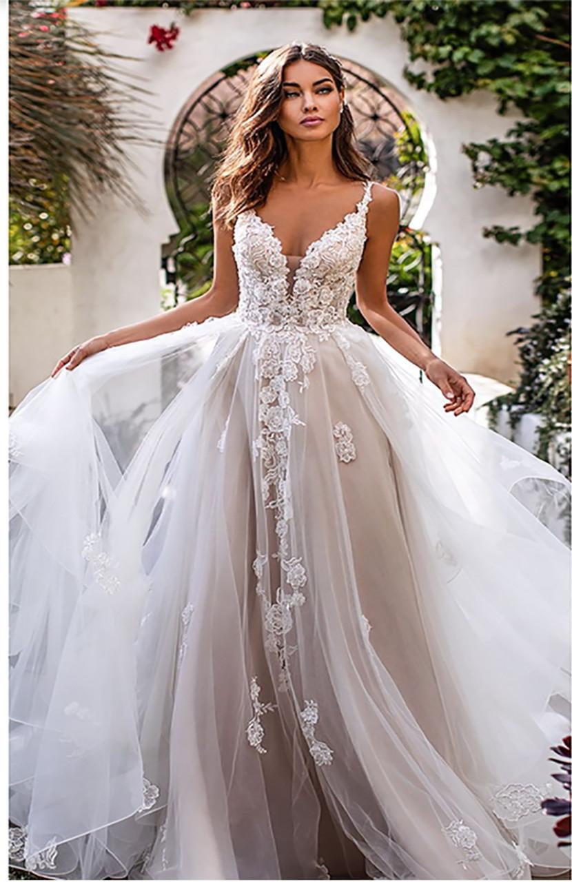 LORIE A Line Wedding Dress 20D Flowers Spaghetti Strap Bride Dress ...
