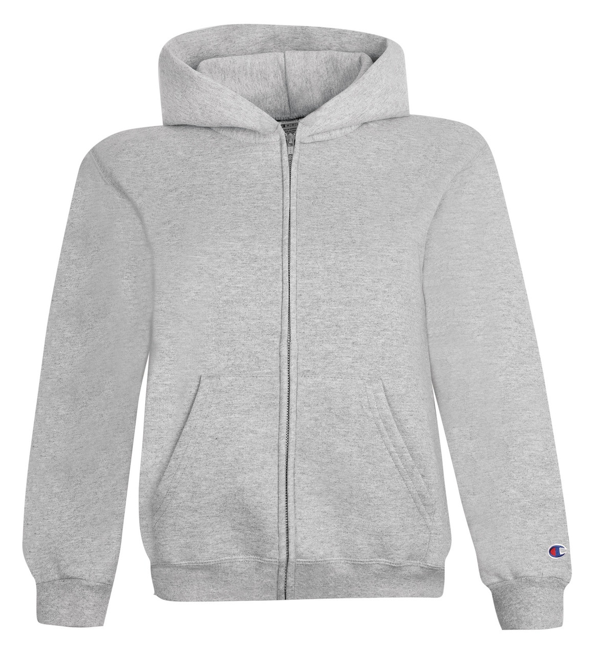 2e025f13 Black Front Champion S890 Youth Powerblend Eco Fleece Full Zip Hoodie |  Athleticwear.ca