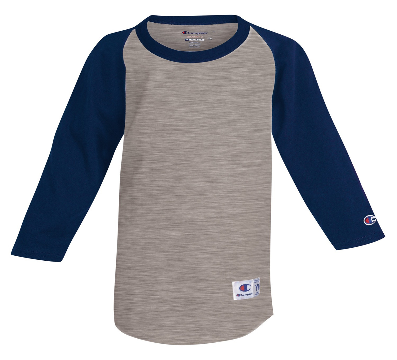 13dce0dd Oxford Gray/Navy Front Champion T13Y Youth Raglan Baseball Tee |  Athleticwear.ca