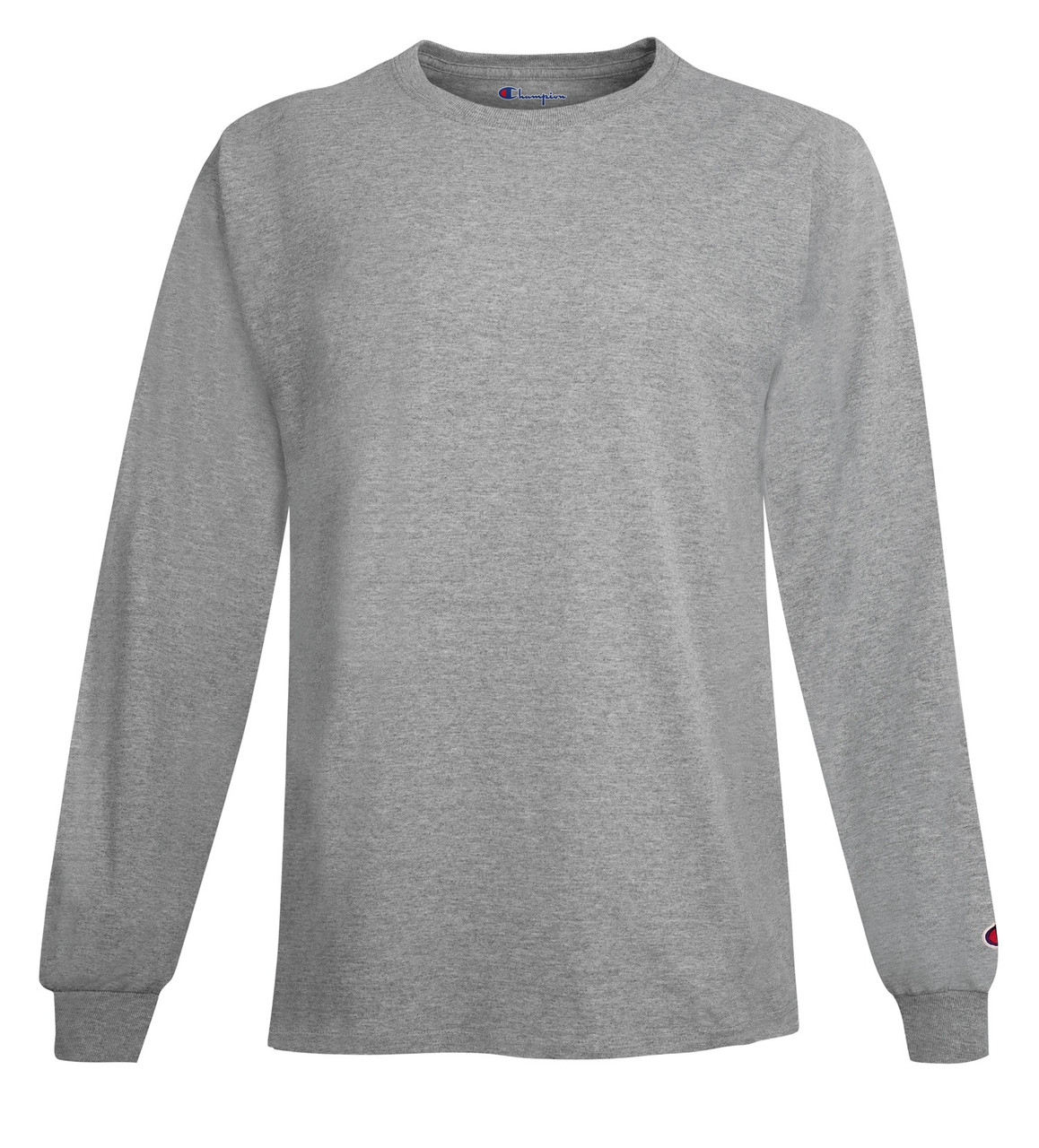 8242c894 Light Steel Front Champion CC8C Long Sleeve Cotton Tee Sweatshirt |  Athleticwear.ca