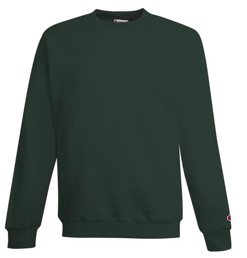 Dark Green Front Champion S690 Youth Powerblend Eco Fleece Crew Sweater | Athleticwear.ca