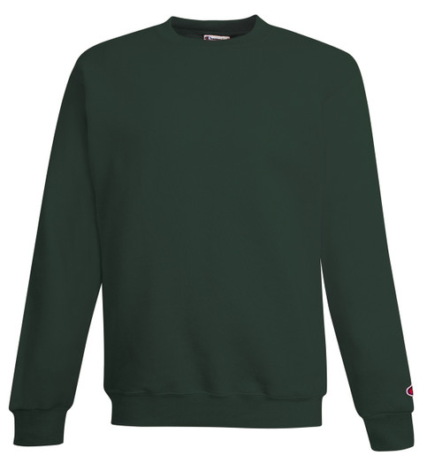 Dark Green Front Champion S690 Youth Powerblend Eco Fleece Crew Sweater | Athleticwear.ca