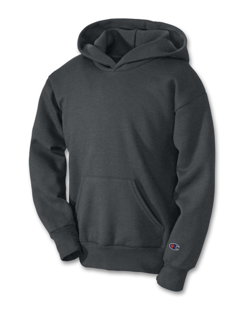 Charcoal Heather Champion S790 Youth Powerblend Eco Fleece Hoodie | Athleticwear.ca