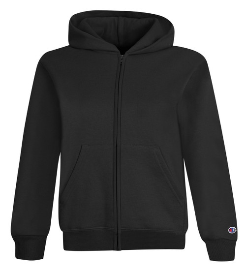 Black Front Champion S890 Youth Powerblend Eco Fleece Full Zip Hoodie | Athleticwear.ca