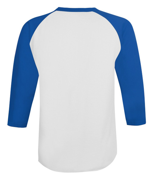 3884f55128d ... White Team Blue Back Champion T137 Raglan Baseball Tee