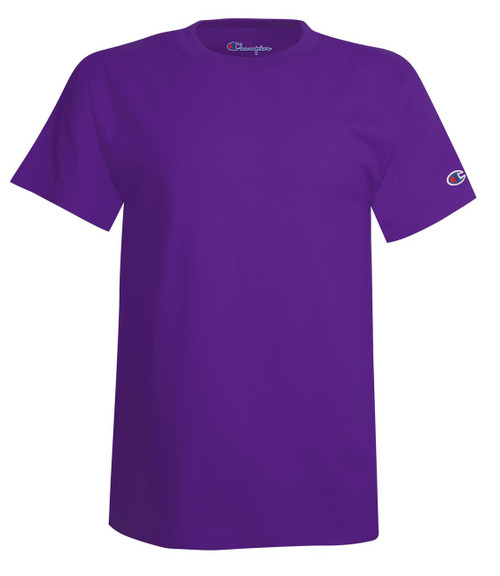 Purple Front Champion T425 Short Sleeve Cotton T-Shirt | Athleticwear.ca