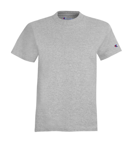 Light Steel Front Champion T435 Youth Short Sleeve Cotton T-Shirt | Athleticwear.ca