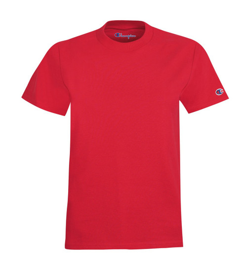 Red Front Champion T435 Youth Short Sleeve Cotton T-Shirt | Athleticwear.ca