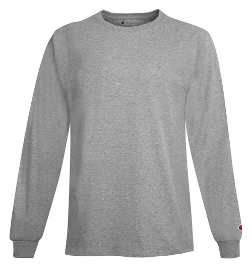 Light Steel Front Champion CC8C Long Sleeve Cotton Tee Sweatshirt   Athleticwear.ca