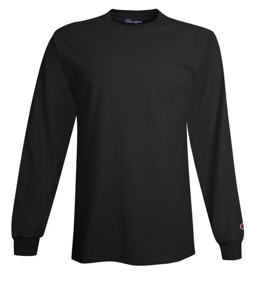 550d84945a5b ... Black Front Champion CC8C Long Sleeve Cotton Tee Sweatshirt |  Athleticwear.ca ...