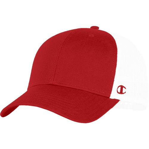 Red/White - 4100NN Trucker Mesh Hat | Athleticwear.ca