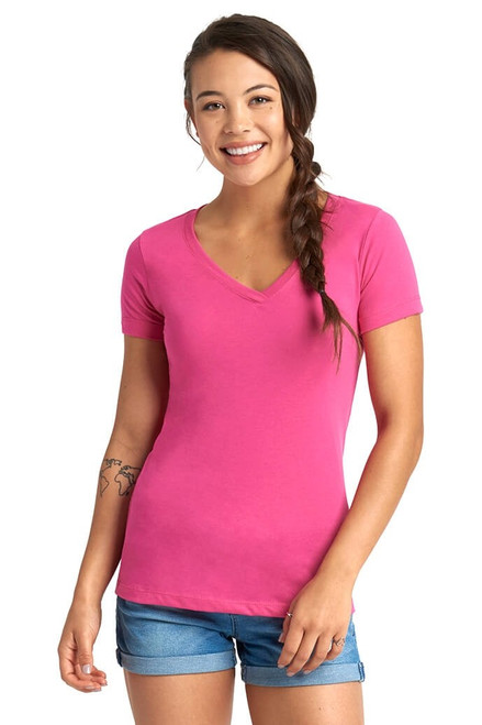 Hot Pink -  1540 Women's Ideal V-Neck Tee | Athleticwear.ca