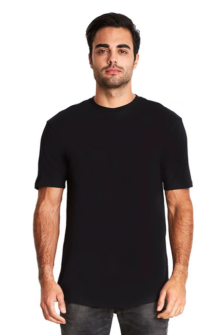 Black - 3602 Men's Cotton Long Body Crew Neck Tee | Athleticwear.ca