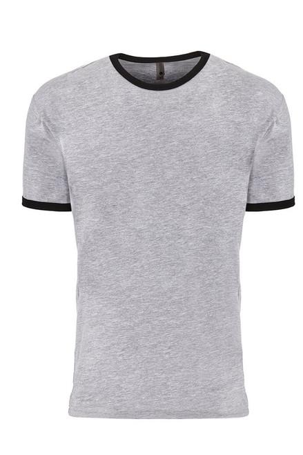 Heather Grey/ Black - 3604 Men's Cotton Ringer Tee | Athleticwear.ca
