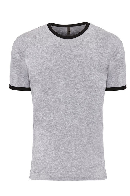 Heather Grey/ Black - 3604 Men's Cotton Ringer Tee | Athleticwear.ca