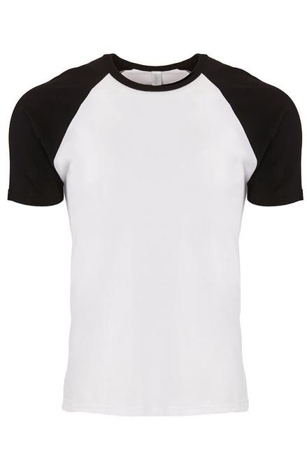 Black/ White - 3650 Cotton Raglan Tee | Athleticwear.ca