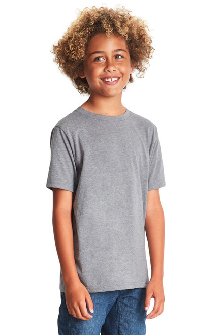 Dark Heather Grey - 3312 Youth Premium CVC Short Sleeve Crew Neck Shirt | Athleticwear.ca