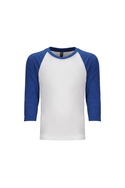 Royal/ White - 3352 Youth CVC 3/4 Raglan Tee | Athleticwear.ca