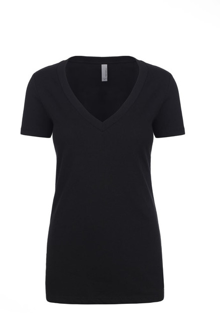 Black - 6640 Women's CVC Deep V-Neck Tee | Athleticwear.ca