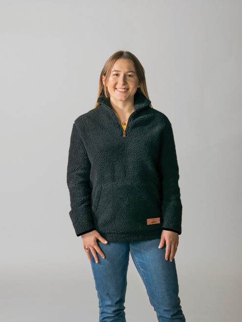 Black - T5000 Timberlea Unisex Sherpa Fleece 1/4 Zip Sweater | Athleticwear.ca