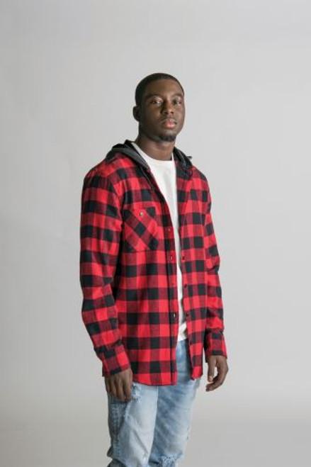 Red/Black - T4000 Timberlea Unisex Flannel Hoodie | Athleticwear.ca